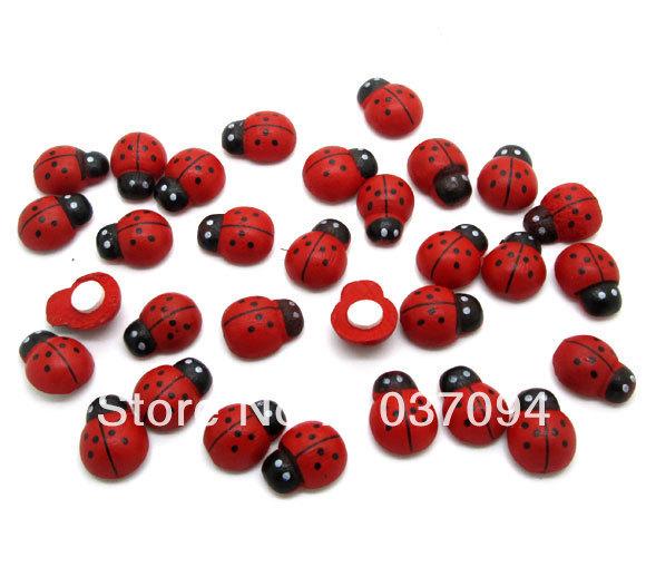 100Pcs Painted Ladybug Self-Adhesive Wood Craft Cabochon Scrapbooking Decoration 15x12mm(China (Mainland))