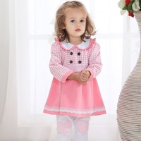 Spring and autumn female child twinset peter pan collar long-sleeve dress baby pink plaid dress infant dress