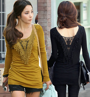F~3XL!! Hot Sale New Spring Autumn Ladies Sexy Fashion Plus Size Clothing Tassel V-neck Long-sleeve Cotton Slim Women T-shirts