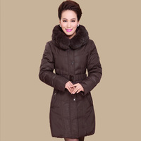 2013 New Winter Women's Down Hooded Parka Rex Rabbit Fur Coat Overcoat Black Plus Size 4XL Thicken Medium Long Cotton XXXXL
