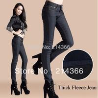 Free shipping thick winter fleece jeans women slim fit skinny denim pencil fleece jeans  for your warm in winter women jeans
