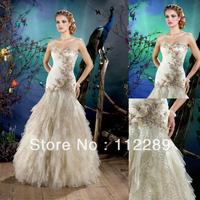 Graceful White Mermaid Floor Length Strapless Bling Wedding Dress HZ3666