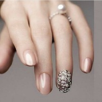 Quality luxury alloy nail art accessories zircon rhinestone vintage full metal false nail patch cutout sclerite