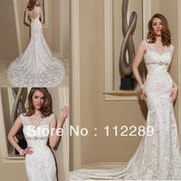 Sexy Cap Sleeve Keyhole Back Mermaid Royal Train Arab Muslim Wedding Dress Wedding Gown HZ3668