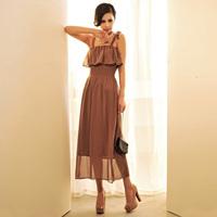 HOT! caramel beauty ~ retro VIVI flounced skirt waist harness shoulder straps solid color chiffon dress