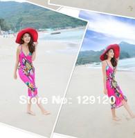 2014 Chiffon beach dress fashion racerback suspender dress simple summer one-piece dress bohemia floral print dress full