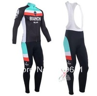 free shipping!2013 Bianchi team long sleeve cycling jersey and bib pants Kit,biking clothes,bicycle wear,bike jersey
