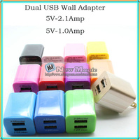 5000pcs/lot, 110-240V to 5V 2.1A 1A Dual USB US Portable Travel Home Wall Charger Adapter for iPhone iPad Samsung Sony Tablet