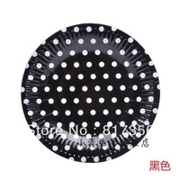 "Free shipping 7"" (18.5cm) Black Polka Dot Round Paper Plate,Disposable Party Paper Pate,Wedding Baby Shower Party,100pcs/lot"