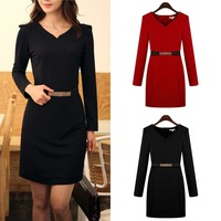 Fashion Women OL Slim Skirt Base Bottoming Dress Long Sleeve with Belt 3 Color 77130-77137