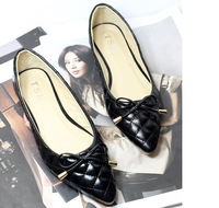 2014 designer shoes cloth sweet bowknot sequins shallow mouth pointed flat shoes