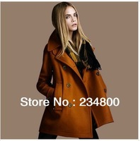 New spring autumn winter fashion double breasted coat ladies wool jacket outerwear overcoat plus size trench FREE SHIPPING