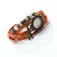 2014 Fashion Woman Quartz Watches Diamond Eiffel Tower Cow Leather wrist  Watch Christmas Gift