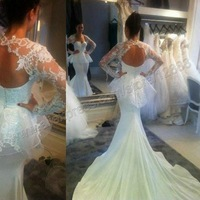 Ivory Lace and Satin Sexy Style Backless Long Sleeve Weddings & Events 2014 Free Shipping
