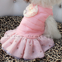 Puppy Princess Bow Tutu Dress Skirt Clothes , Pet Dog Warm Winter Dress Pet Winter Clothing Free Shipping
