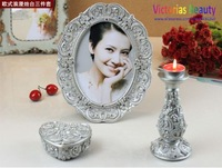Victorias European royal classic fancy style photo frames & jewlery box & candle holder, 3pcs, wedding gift , Free shipping