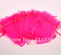 Free Shipping 100pcs Fuchsia Drawable Organza Wedding Gift Bags&Pouches 12x9cm