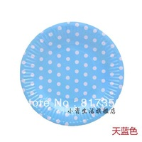 "Free shipping 7"" (18.5cm) Blue Polka Dot Round Paper Plate,Eco-friendly Party Paper Pate,Wedding Party,Birthday Party,100pcs/lot"