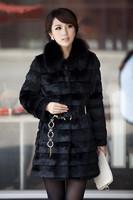 Free shipping Women's Fashion Rabbit Fur Coat with Fox Fur Collar Outwear Lady Garment Plus Size S-XXXL
