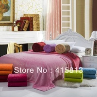 Free shipping Solid color thickening 100%coral fleece blanket three-dimensional cut flowers double faced plain bedding sheet