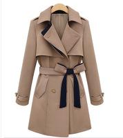 2013 Ladies fashion overcoat Women's Double-breasted Warm Winter Dust Coat Luxury Long windbreak Outerwear Clothes Linen coat