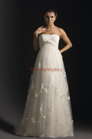 Free Shipping Strapless Sleeveless Pregnant Maternity Floor Length Tulle Bridal Gown Wedding Dresses Custom Make All Size