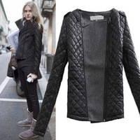 Winter women's 2013 vintage epaulette mosaic fashion o-neck slim cotton-padded woolen short jacket