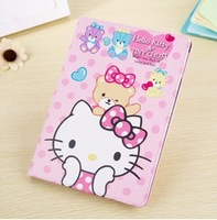 Brand Cute Cartoon Hello Kitty Cat Flip Wallet Card Stand Book Leather Cases Smart Cover For Apple ipad mini 2 ipad 5 Air 08118