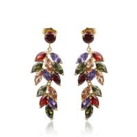 New luxury wedding lady plated 18kt earrings zircon earrings white/multicolors earrings