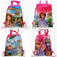 New Design -24Pcs sofia the first Cartoon Drawstring Backpack Bag,Children Kids Bag 36X28CM Non-woven Material