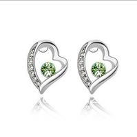 Free Shipping Fashion Shining Color Austrial Crystal Platium Plating Romantic Heart  Stud Earring Jewelry 4Colors (50$-4$)