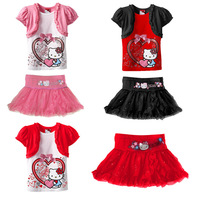Free shipping,Girl Summer Suit Set, Baby Girl Kitty Suit,Short Sleeves Bow Cotton Shirt+Glitter Tutu Dress Skirt 1-6