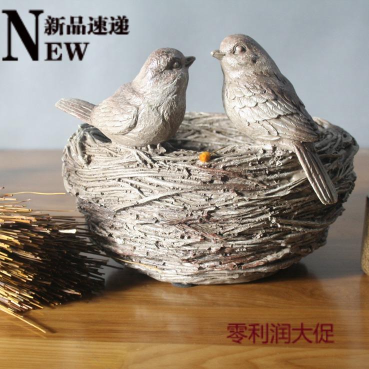 Derlook retro finishing quality resin home decoration accessories lovers small bird nest jewelry storage basin(China (Mainland))