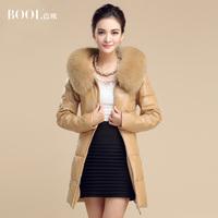 2014 Fox fur  genuine leather sheepskin down coat hooded clothing women's medium-long outerwear EMS (free shipping) /Q032