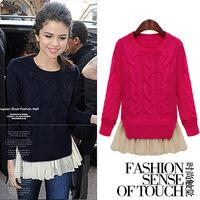 Free Shipping autumn winter beading vestidos beading plus xxxxl wool casual dress big size women clothes DM132084