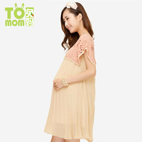 Maternity clothing one-piece dress chiffon hollowed-out fashion dress with high quality 8102