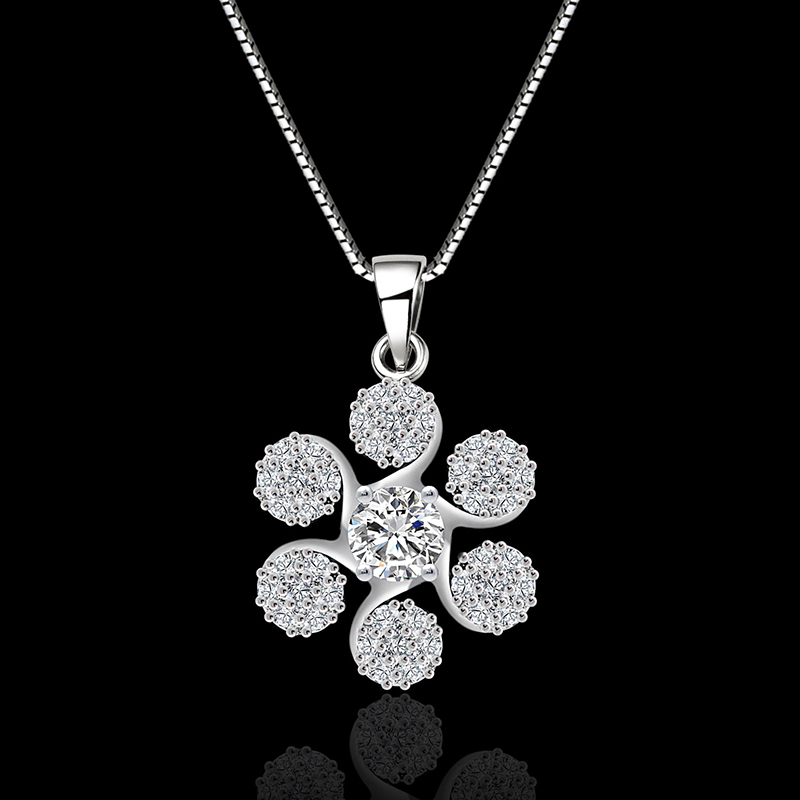 Lucky grass 18K Gold Platinum plated Prong setting White AAA Zircon Pendant Necklace Jewelry Box C