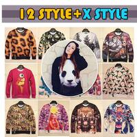 Women/Men Galaxy Panda&Tiger Head&Dollars 3D Animal Print Sweatshirt Sweater Hoodies Top Jumper Pullover Free Shipping
