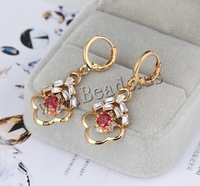 Free shipping!!!Brass Lever Back Earring,One Direction, Flower, 18K gold plated, with cubic zirconia, nickel
