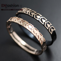 18KGP pink gold fashion arrow shape cuff bracelet women bangles 316L stainless steel jewelry wholesale free shipping