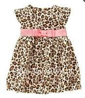 Girl's dress Leopard pink bowknot belt dress childrens clothing Summer Fly sleeve princess dress Girl's one piece dress