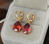 Free shipping!!!Brass Lever Back Earring,Cute Jewelry, Teardrop, 18K gold plated, with cubic zirconia, nickel