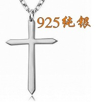 925 pure silver cross necklace pendant silver jewelry male Women necklace fashion brief