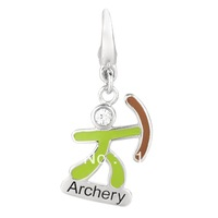 free shipping 5pcs a lot enamel silver plated bow archery charms