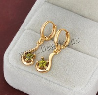 Free shipping!!!Brass Lever Back Earring,2013 new, 18K gold plated, with cubic zirconia, nickel, lead & cadmium free, 27x8mm