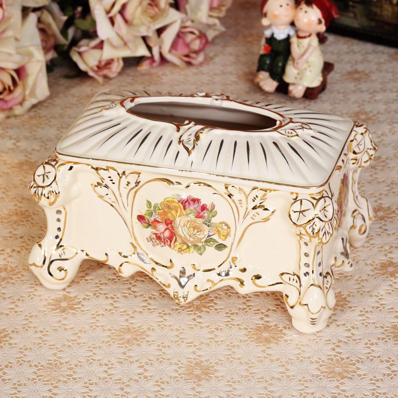 Home decoration new house ceramic decoration tissue box fashion ivory porcelain pumping paper box(China (Mainland))