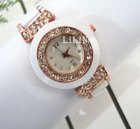New arrivals Set drill / Rose Gold + white woman glamor fashion watches, Global Free Shipping