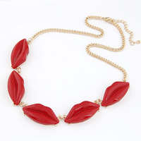 Fashion red necklace fashion personality sexy lady short women's design chain decoration