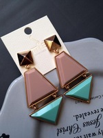 1209 - 11 fashion accessories autumn and winter color block decoration stud earring earrings