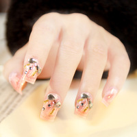 New 2013 pink print lace artificial nail tips,full cover 3d acrylic false nails,24 pcs,free shipping